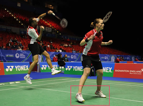 Super Series Master Final Champion, England Mixed Doubles Christina Pedersen, using Yonex SHB-92LX Pink badminton shoes