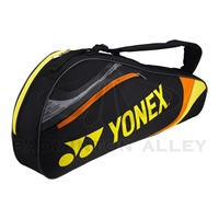 Yonex 7323 Black Yellow Badminton Tennis 3 Rackets Bag
