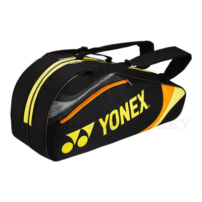 Yonex 7326 Black Yellow Badminton Tennis 6 Rackets Bag