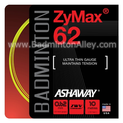 Ashaway ZyMax 62 (0.62mm) Badminton String - Yellow