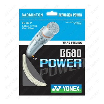 Yonex BG-80 (BG80) Power White 0.68mm Badminton String