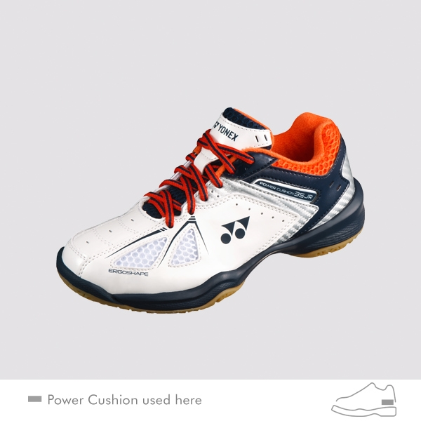 yonex power cushion 35 junior white orange badminton shoes. Black Bedroom Furniture Sets. Home Design Ideas